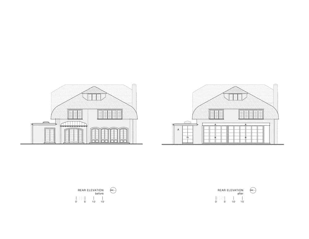 This is the illustrative representation of the rear elevation of the house showcasing the renovations made.