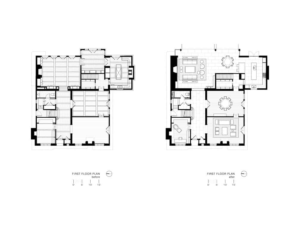 This is the illustrative floor plan of the first floor showcasing the renovations made.
