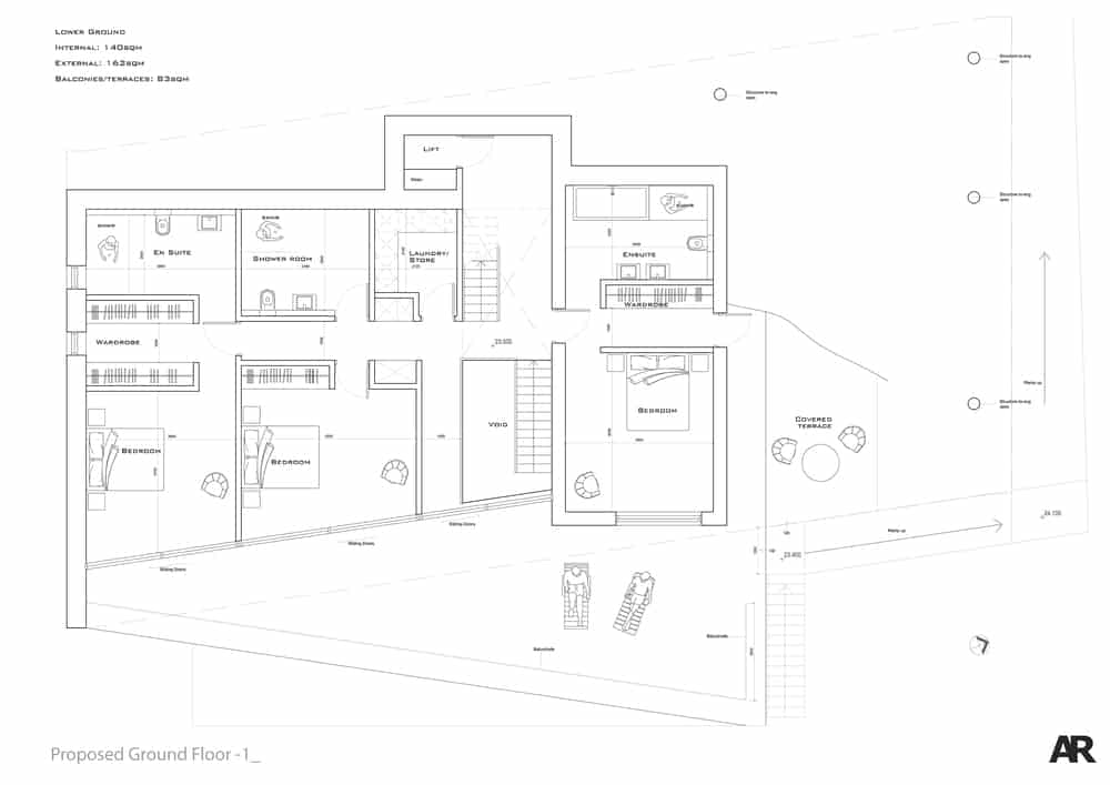 This is the lower ground floor plan with the sections like bedrooms and bathrooms.