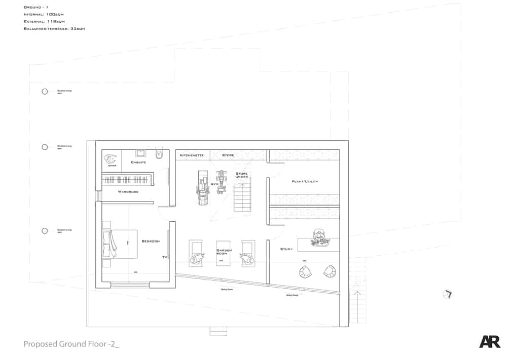 This is the upper level floor plan with the primary bedroom.