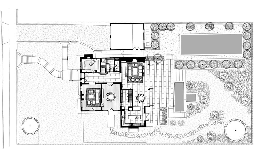 This is the illustration of the floor plan of the whole property along with the surrounding landscape.