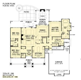 Main level floor plan showing the basement stairs location.