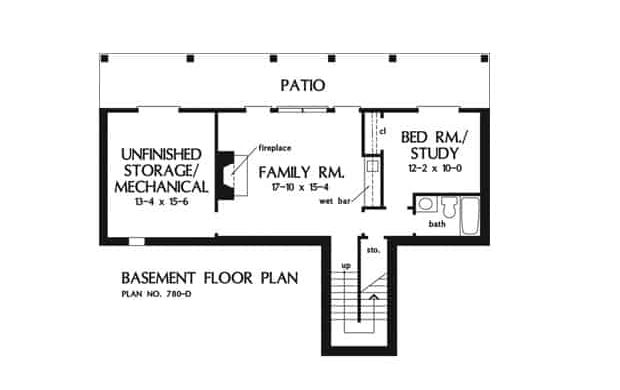 Basement floor plan with family room, flexible study/bedroom, and a wide patio.