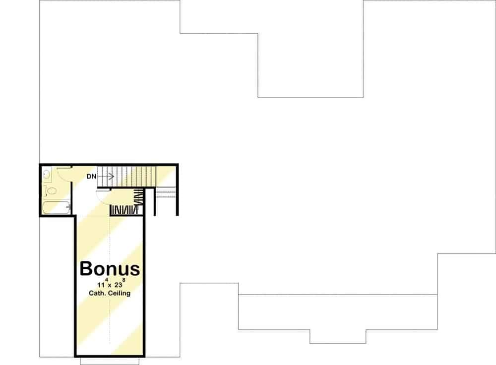 Bonus floor plan with a vaulted room and a full bathroom.