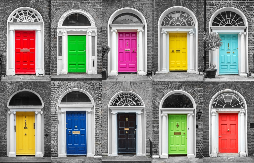 A collection of colorful doors in Dublin, Ireland.