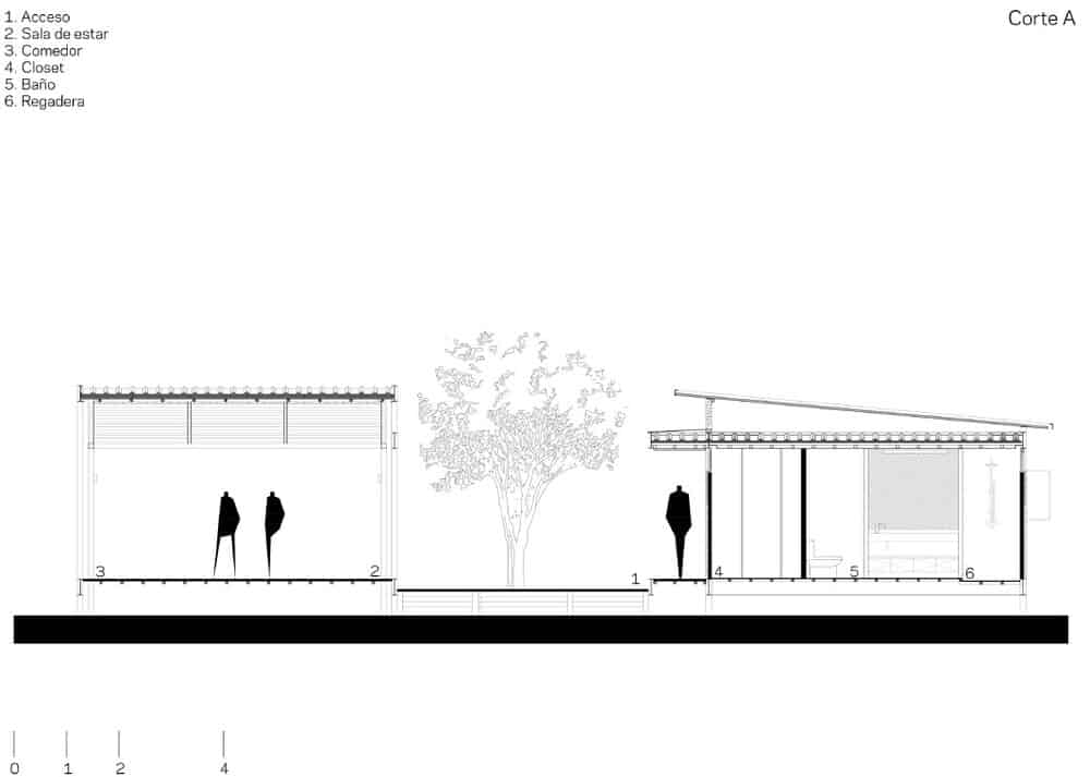 This is a side elevation of the house showcasing the height of the house compared to people and trees.