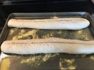 The dough is then placed on a baking pan.