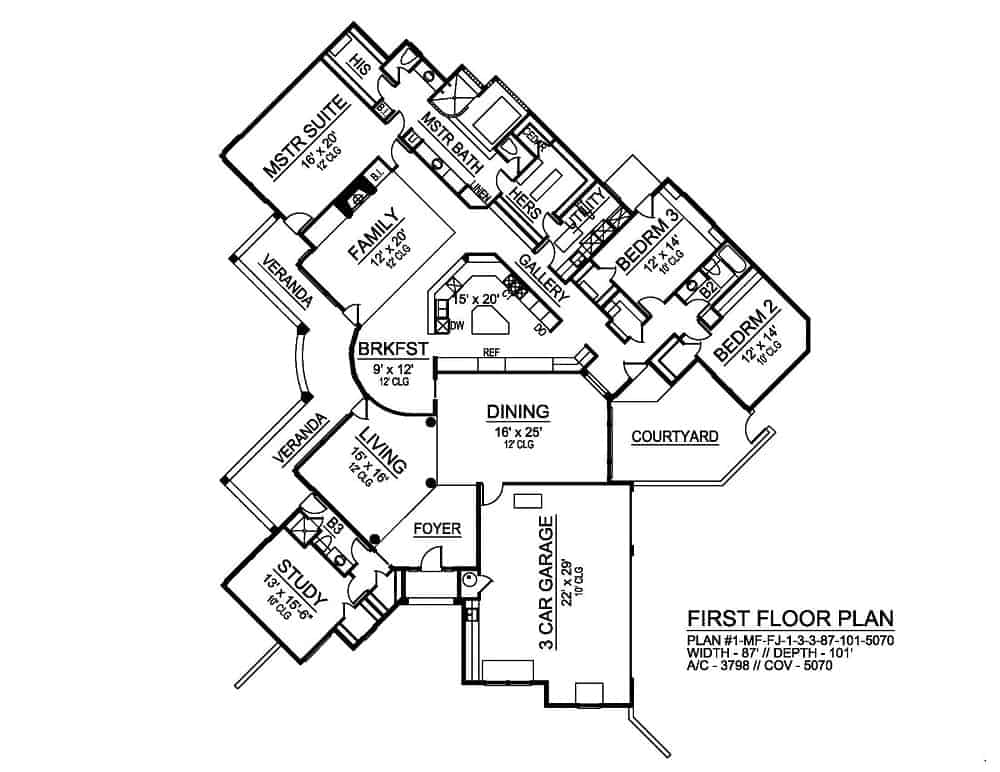 Entire floor plan of a 3-bedroom single-story El 'Angulo European style home with a courtyard, living room, dining room, study, kitchen with breakfast nook, family room. three bedrooms, and a wrap-around veranda.