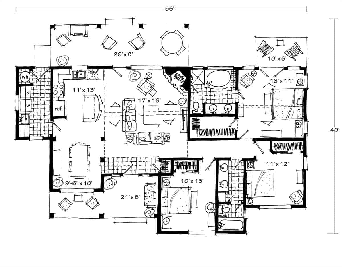 Entire floor plan of a 3-bedroom single-story The Cherokee cabin home with a living room, kitchen, dining area, utility room, three bedrooms, and rear decks.