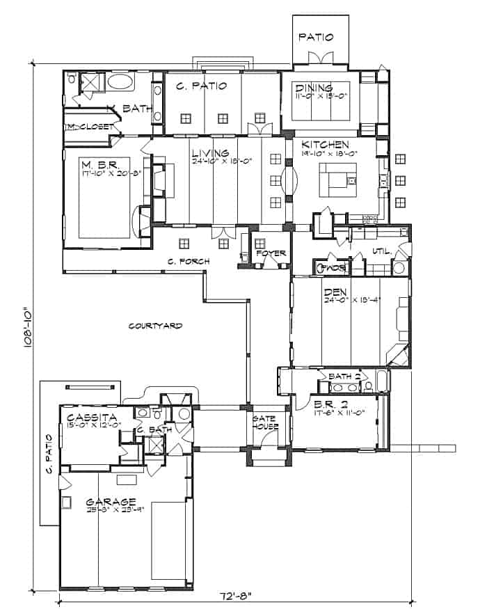 Entire floor plan of a 3-bedroom two-story The Montellano Spanish home with living room, kitchen, dining area, den, two bedrooms, and a casita behind the garage.