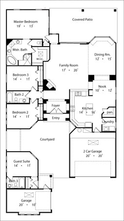 Entire floor plan of a 4-bedroom single-story Mediterranean home with courtyard, family room, dining room, kitchen with breakfast nook, four bedrooms, and two garages.