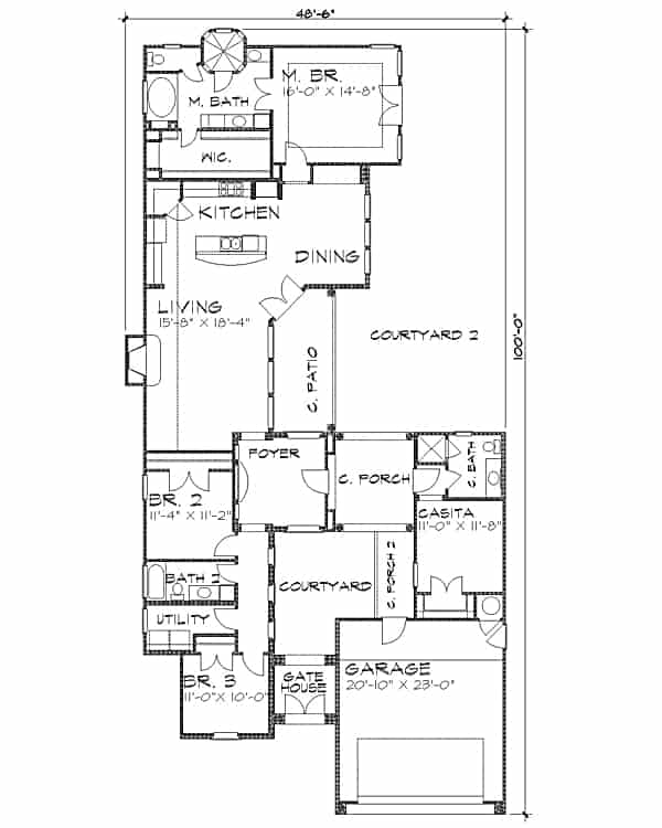 Entire floor plan of the 4-bedroom single-story Spanish style The Posada home with a gatehouse, garage, casita, living room, kitchen, dining area, three bedrooms, utility room, and expansive courtyards.