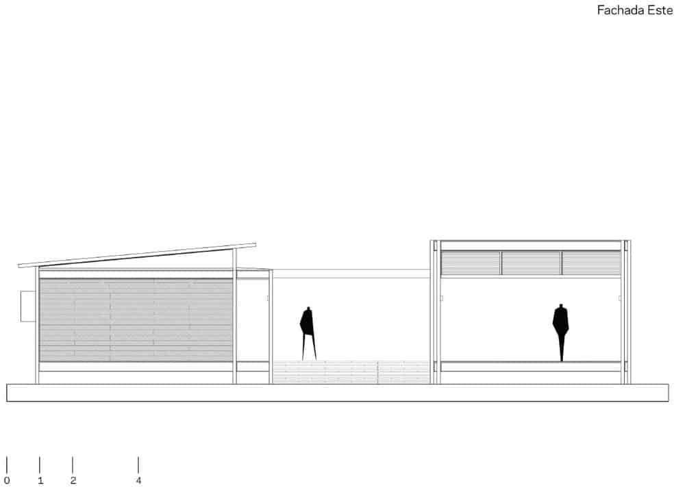 This is the north elevation of the house with an approximate distance between the two structures of the house.