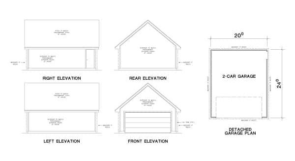 Garage floor plan showing the front, right, left, and rear elevations.