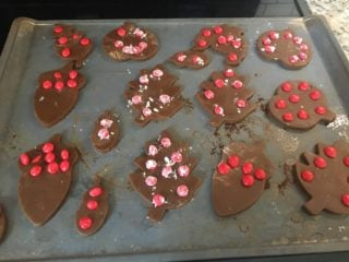 The cookies are then placed in an oven.