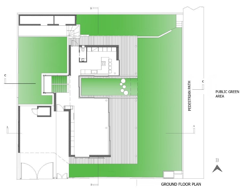 This is the floor plan for the ground floor showcasing various outdoor areas and the interior is marked.