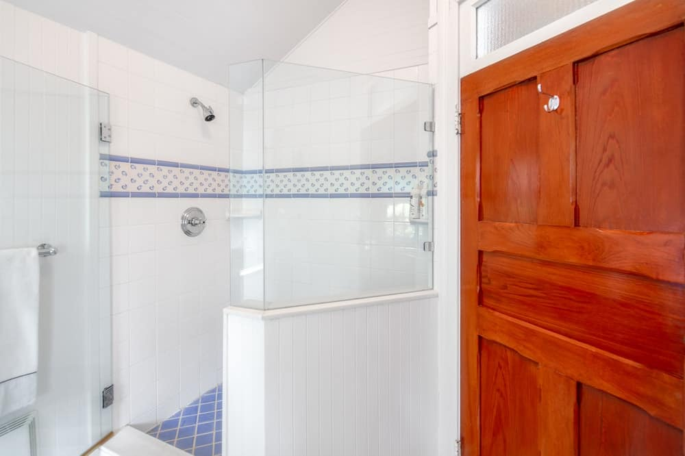 This is a closer look at the bathroom's walk-in shower area with white tiles that contrast with the dark brown door. Image courtesy of Toptenrealestatedeals.com.