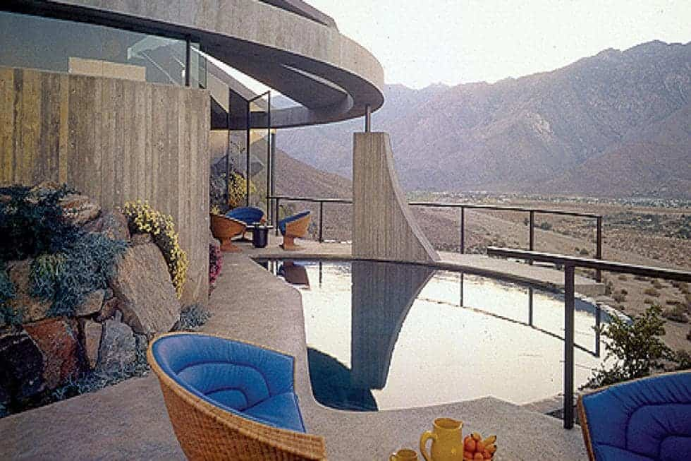 This is the view of the back of the house with a pool overlooking the scenic views of the Coachella Valley and mountains Image courtesy of Toptenrealestatedeals.com.