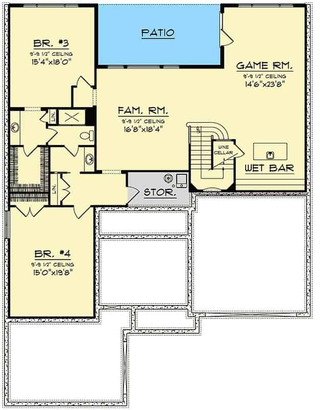 Second level floor plan with two bedrooms, a family room, and a game room with a wet bar and wine cellar.