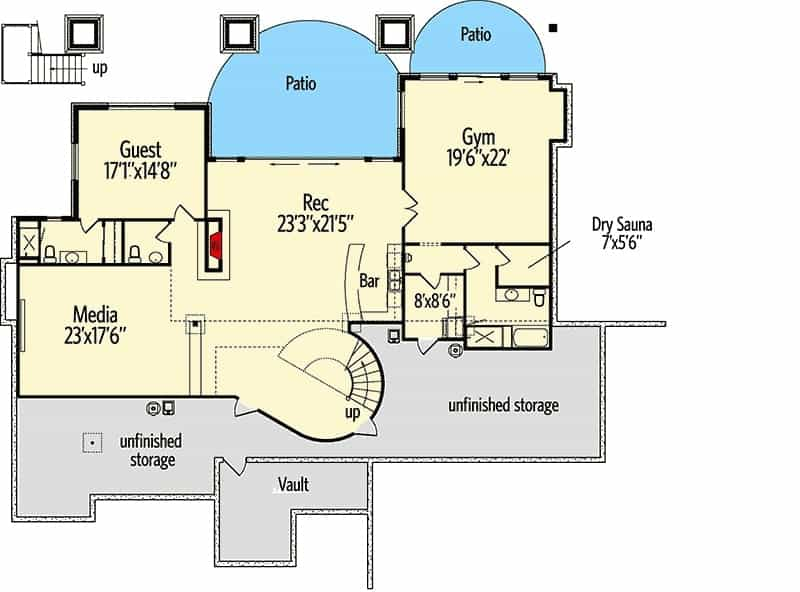 Lower level floor plan with guest bedroom, media room, recreation room, and a gym with sauna.