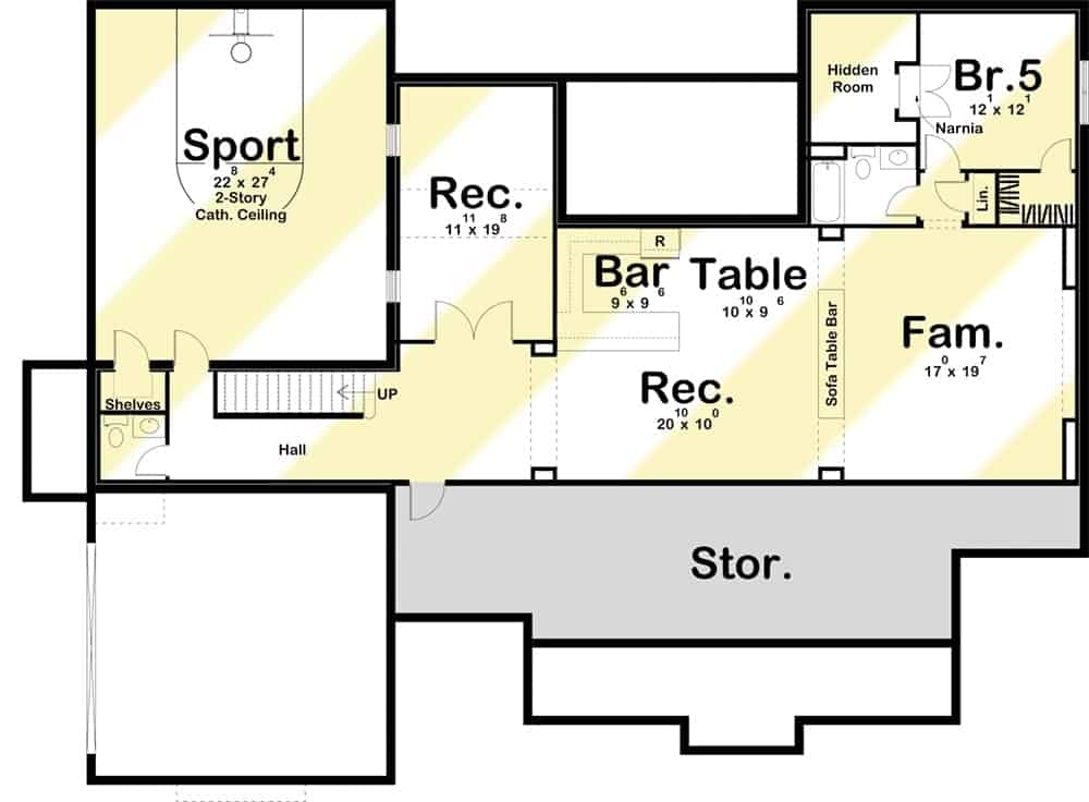 Lower level floor plan with a sports court, recreation room, family room. and a bedroom with a hidden room.