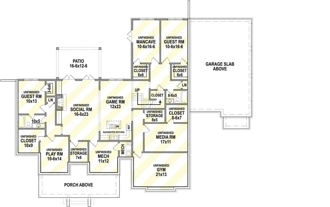 Lower level floor plan with two guest rooms, a game room, gym, media room, playroom, a social room, and plenty of storage space.