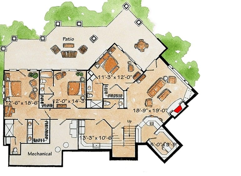 Lower level floor plan with three bedrooms, a utility room, and a recreation room with a wet bar and patio access.