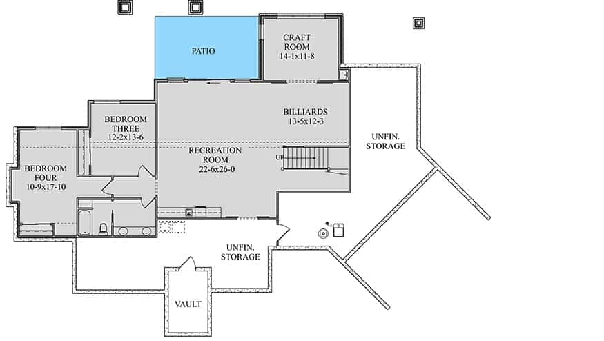 Lower level floor plan with two more bedrooms, a craft room, billiards, and a recreation room that opens to the rear patio.