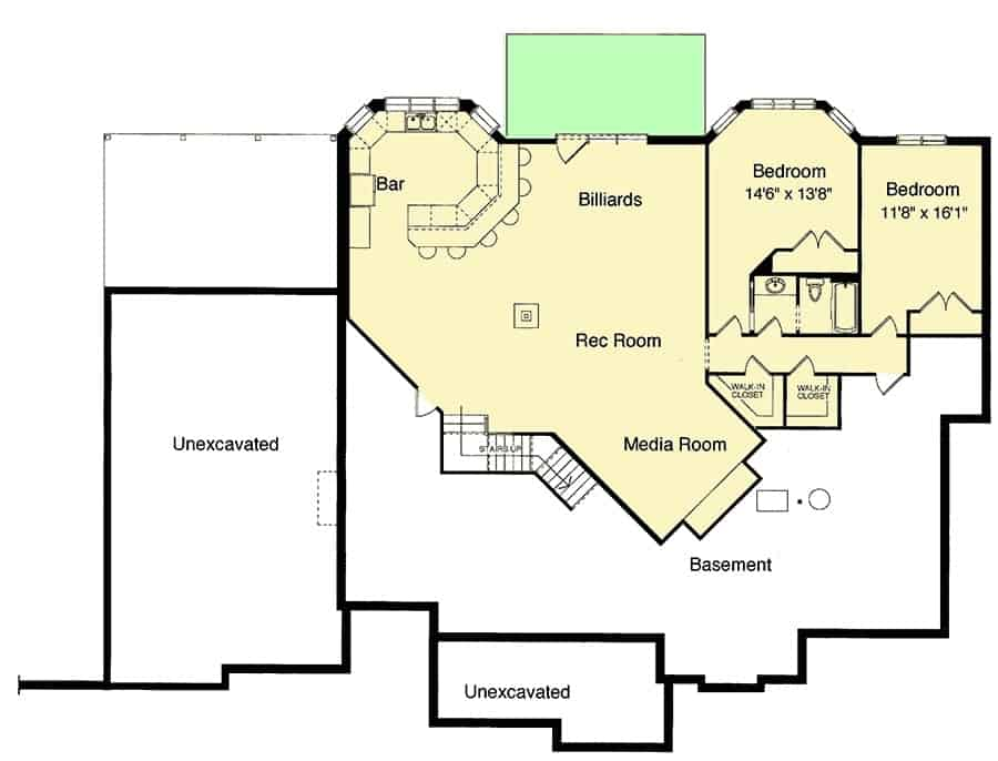 Lower level floor plan with two bedrooms, a media room, recreation room, billiards, and a wet bar.