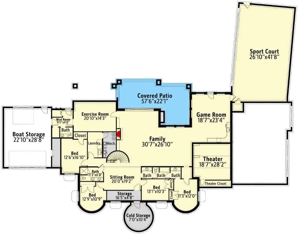 Main level floor plan of a single-story 6-bedroom luxury Spanish home with a three-car garage, living room, great room, dining room, office, family room, kitchen, breakfast nook, and two bedrooms including the primary and guest suites.