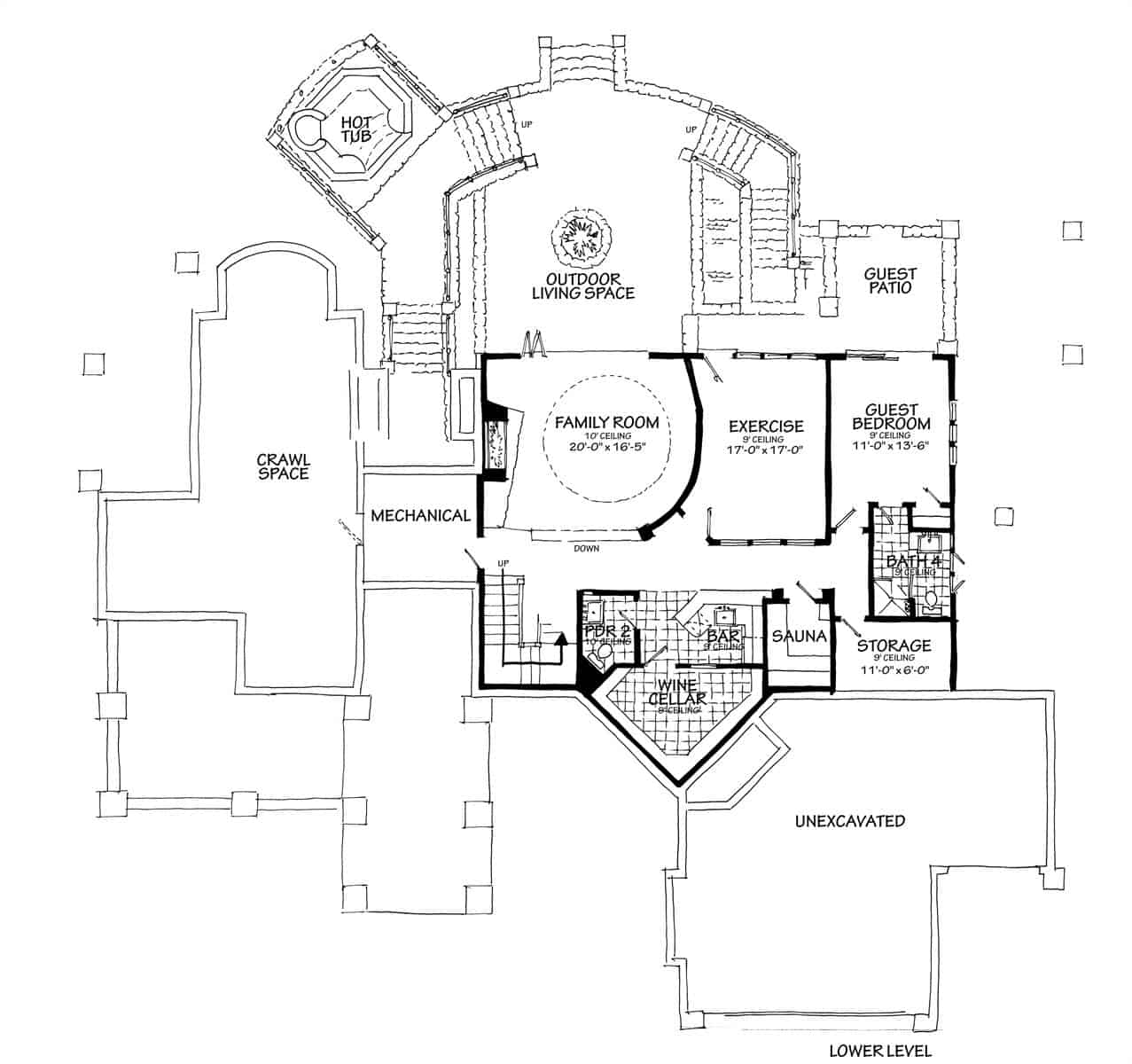 Lower level floor plan with a guest bedroom, exercise room, sauna, wet bar, wine cellar, and a family room that opens to the outdoor living space.