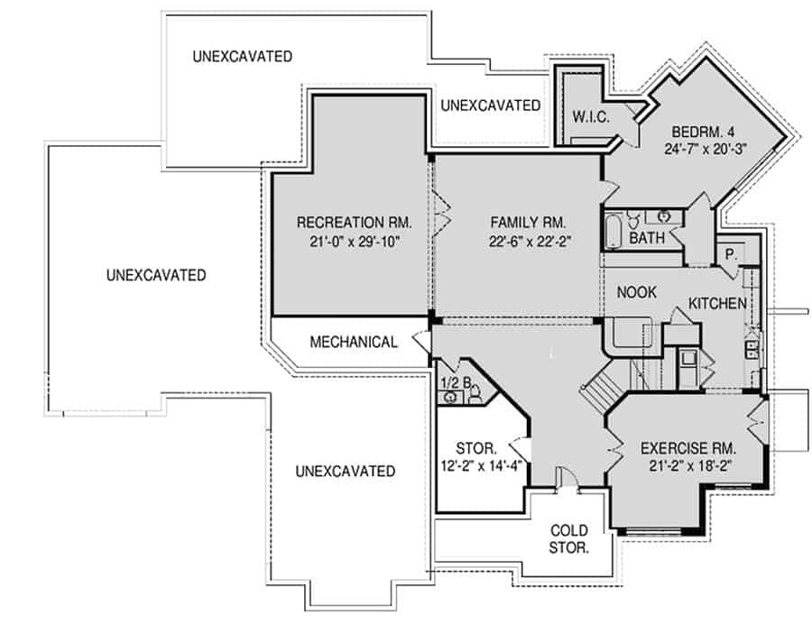 Lower level floor plan with family room, recreation room, exercise room, and an in-law suite complete with a full bath, kitchen, and dining nook.