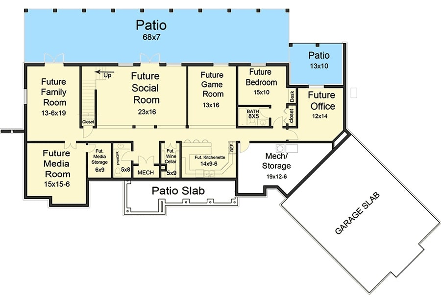 Lower level floor plan with family room, media room, social room, game room, bedroom, office, and a wide rear patio.