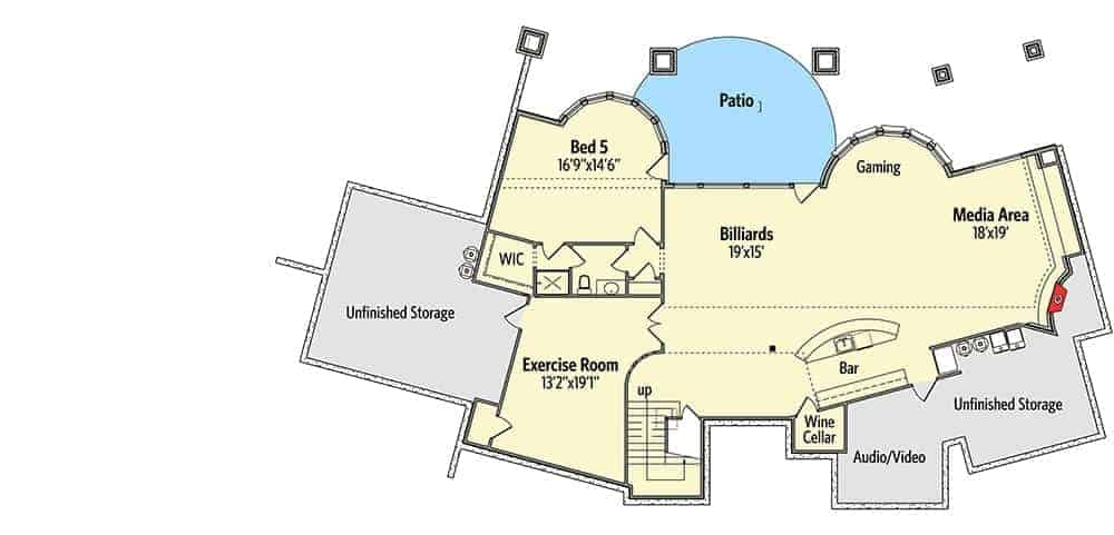 Lower level floor plan with a bedroom, exercise room, billiards, a wet bar, gaming area, media area, and lots of storage spaces.