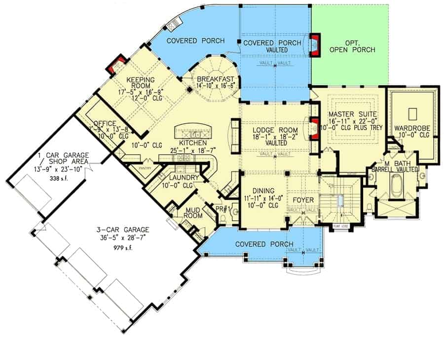 Main level floor plan of a 3-bedroom single-story Southern home with lodge room, dining room, kitchen, breakfast nook, keeping room, office, primary suite, 4-car garage, and lots of outdoor spaces.