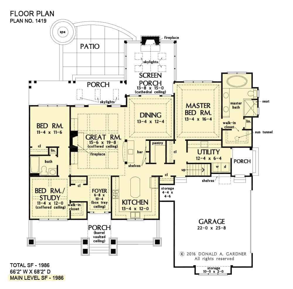 Main level floor plan of a 3-bedroom single-story The Cline cottage home with great room, kitchen, dining area that opens to the screened porch, utility, and three bedrooms including the primary suite and the flexible study.