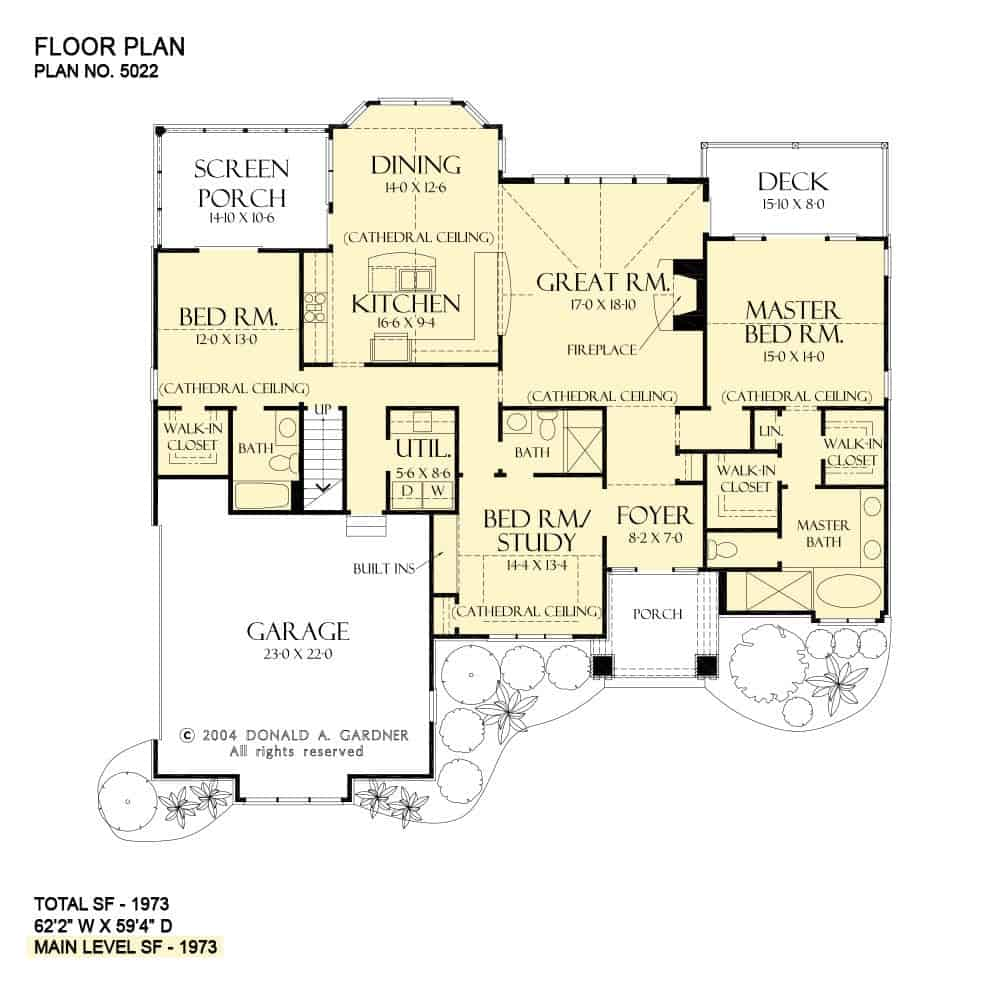 Main level floor plan of a 3-bedroom single-story The Foxford cabin with great room, kitchen, dining area, three bedrooms, a screened porch, and a rear deck.