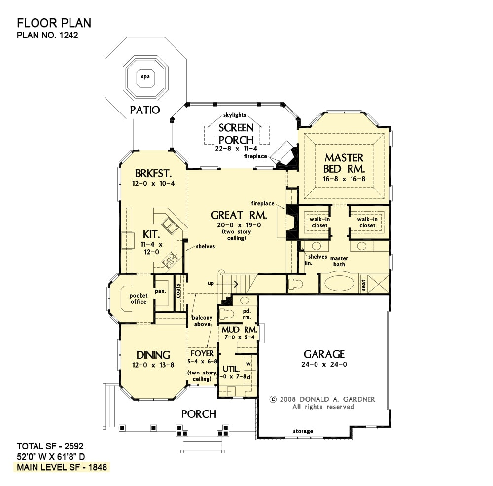 Main level floor plan of a 3-bedroom traditional two-story The Hinnman home with a great room, kitchen with breakfast nook, pocket office, formal dining room, and a primary suite that opens to the screened porch.