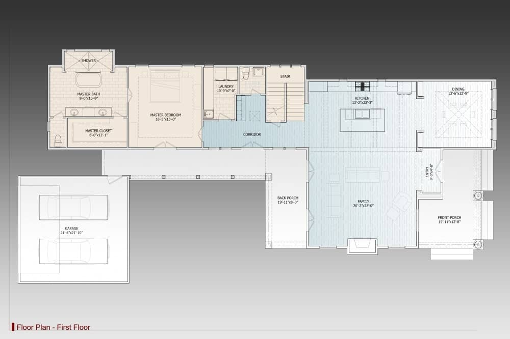 Main level floor plan of a 3-bedroom two-story traditional home with family room, kitchen, dining area, laundry room, primary suite, and an attached double garage.