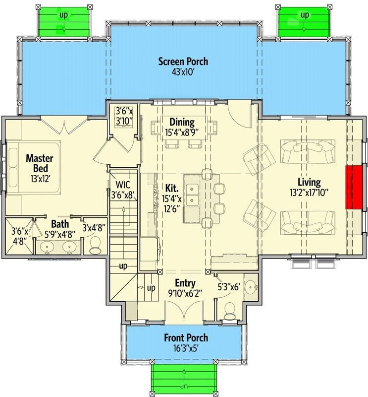 Main level floor plan of a 3-bedroom two-story cottage with front porch, primary suite, living room, kitchen, and dining area that opens to the screened porch.