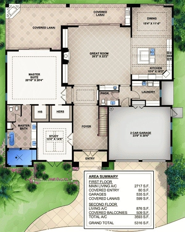 Main level floor plan of a 3-bedroom two-story Florida home with foyer, great room, kitchen, dining area, laundry room, study, and primary suite with private lanai access.
