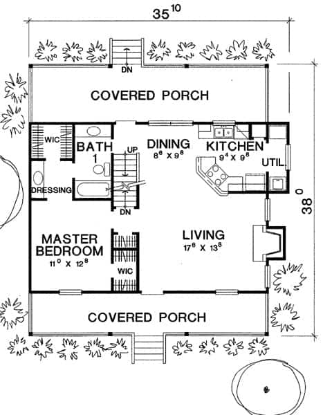 Main level floor plan of a 3-bedroom two-story The Pagosa cabin home with covered front and rear porches, living room, dining area, kitchen, and a primary suite.