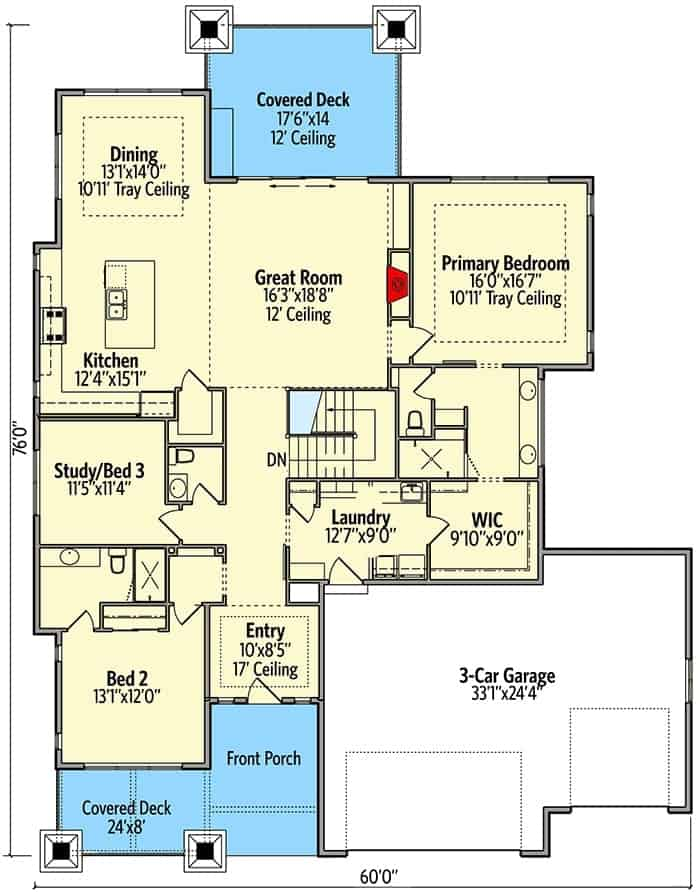 Main level floor plan of a 4-bedroom single-story mountain craftsman home with great room, kitchen, dining room, laundry, and three bedrooms including the primary suite and the flexible study.