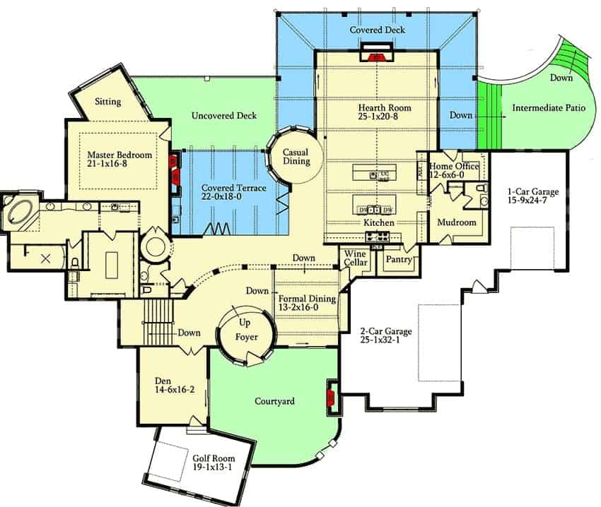 Main level floor plan of a 4-bedroom single-story Spanish style home with golf room, den, formal dining room, wine cellar, hearth room, kitchen, home office, primary suite with sitting area, and lots of outdoor spaces.