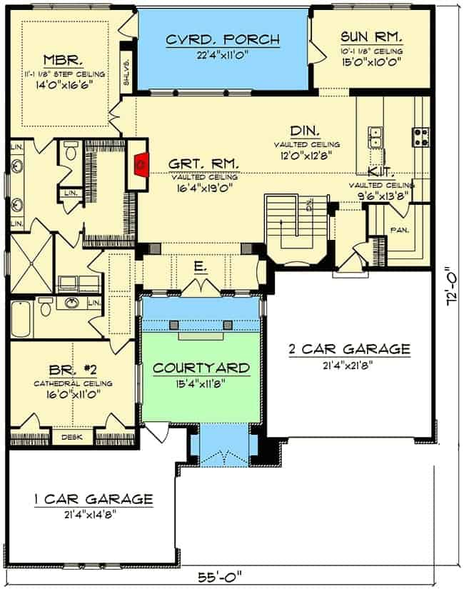 Main level floor plan of a 4-bedroom single-story Tuscan home with courtyard, great room, dining area, kitchen, sunroom, and two bedrooms including the primary suite with back porch access.
