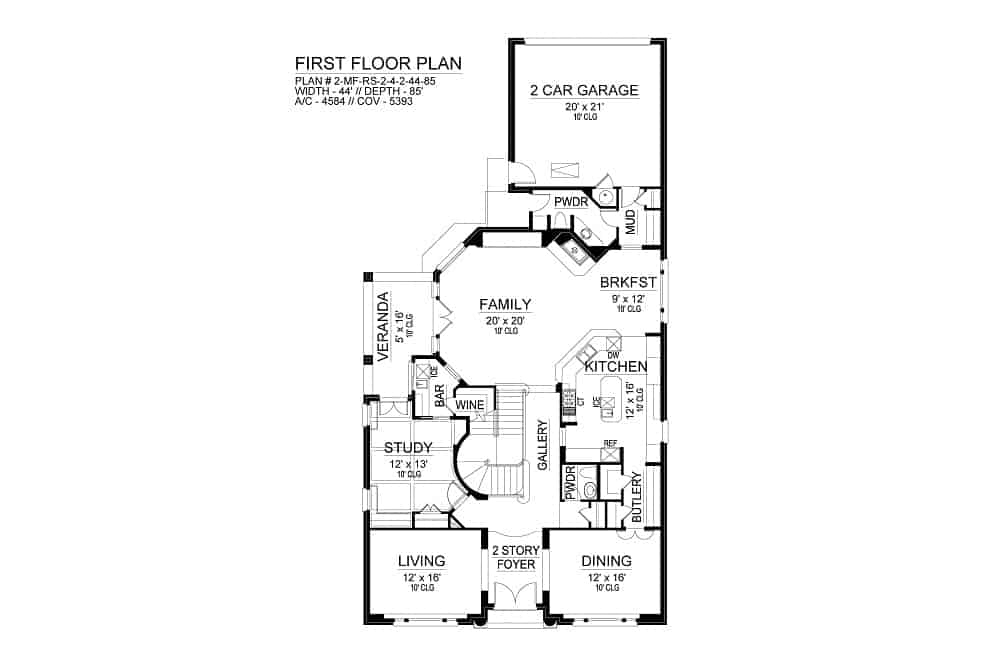 Main level floor plan of a 4-bedroom two-story Annapolis Brick European home with double garage, soaring foyer, living room, study, formal dining room, kitchen with breakfast nook, and family room that opens to the veranda.