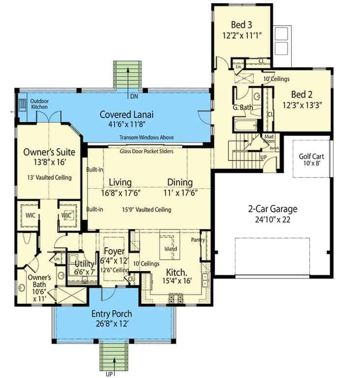 Main level floor plan of a 4-bedroom two-story beach home with entry porch, living room, dining room, kitchen, two family bedrooms, and a primary suite with covered lanai access.