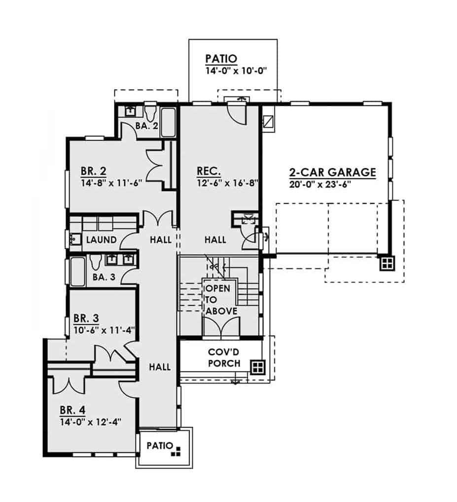 Main level floor plan of a 4-bedroom two-story contemporary style home with a recreation room, three bedrooms, laundry room, and a double garage.