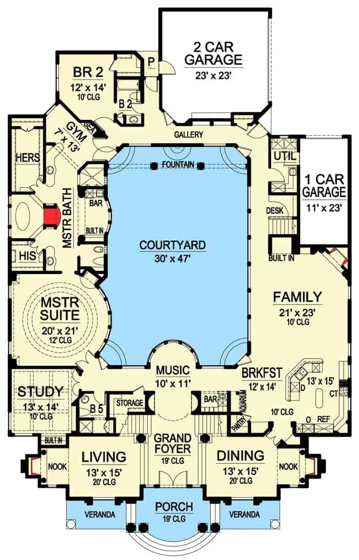 Main level floor plan of a 4-bedroom two-story European home with grand foyer, music area, living room, dining room, study, kitchen with breakfast nook, family room, primary suite, two garages, and a central courtyard.
