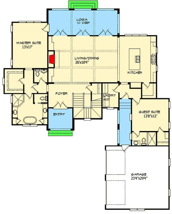 Main level floor plan of a 4-bedroom two-story European villa with foyer, living/dining, kitchen, guest suite, and a primary suite with private access to the rear logia.